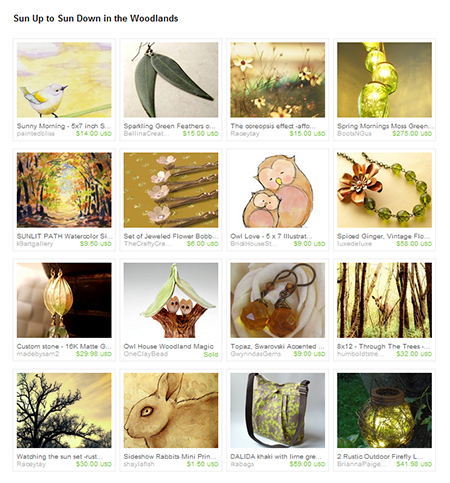 Sun Up to Sun Down in the Woodlands Etsy Treasury