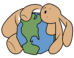 Bunny hugging earth