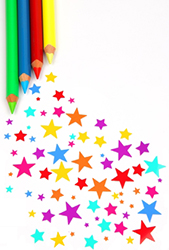 Colorful pencils and stars
