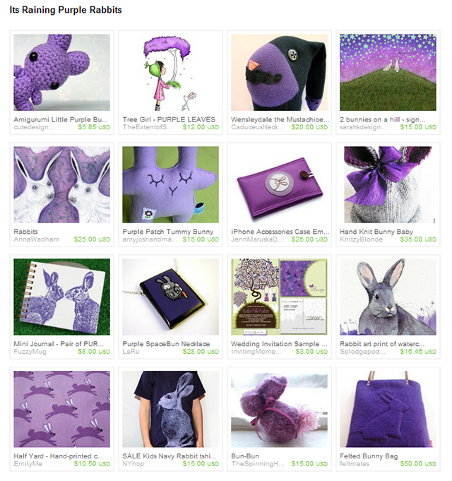 Its Raining Purple Rabbits Etsy Treasury