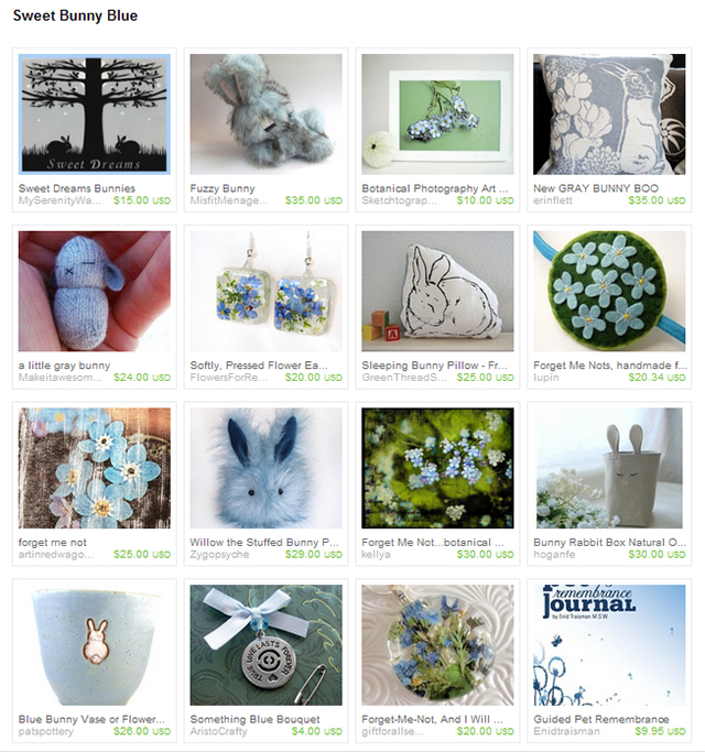 Etsy treasury sweet bunny blue