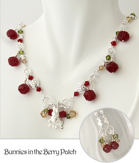 Bunnies in the Berry Patch Necklace and Earring Set